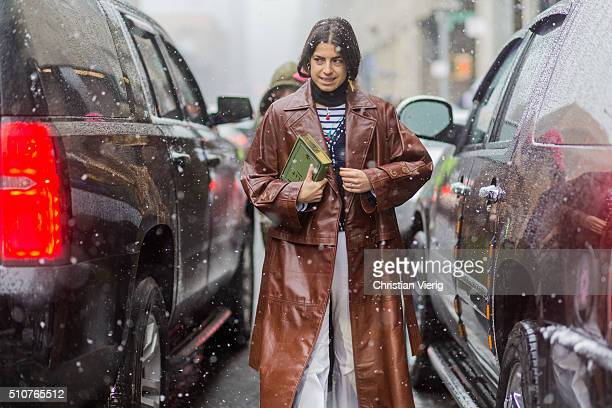 Leandra Medine wearing a brown leather coat seen outside Phillip Lim during New York Fashion Week Women's Fall/Winter 2016 on February 15 2016 in New...