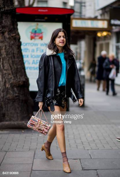 Leandra Medine wearing a leather jacket mini skirt outside Peter Pilotto on day 3 of the London Fashion Week February 2017 collections on February 19...
