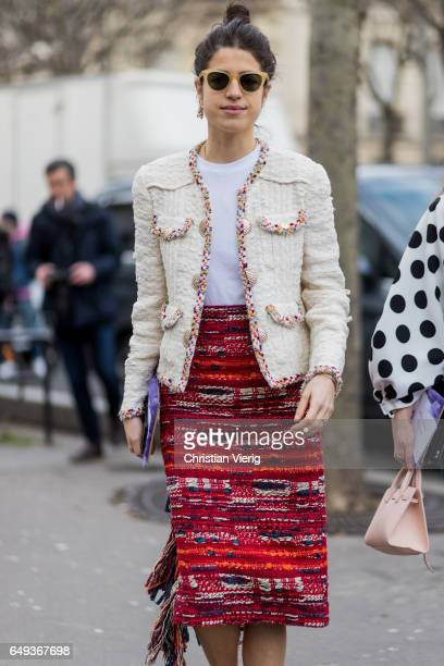Leandra Medine wearing Chanel skirt and blazer outside Ellery on March 7 2017 in Paris France