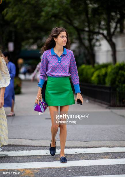 Leandra Medine wearing purple top green mini skirt is seen outside Tory Burch during New York Fashion Week Spring/Summer 2019 on September 7 2018 in...