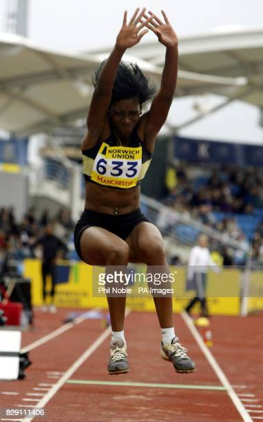 Leandra Polius during the Triple Jump final on day one of the Norwich Union Olympic trials and Amateur Athletics Association Championships at the...