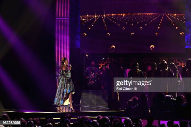 Le'Andria Johnson performs duirng the 33rd annual Stellar Gospel Music Awards at the Orleans Arena on March 24 2018 in Las Vegas Nevada
