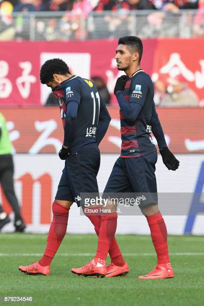 Leandro and Pedro Junior of Kashima Antlers react after the scoreless draw in the JLeague J1 match between Kashima Antlers and Kashiwa Reysol at...