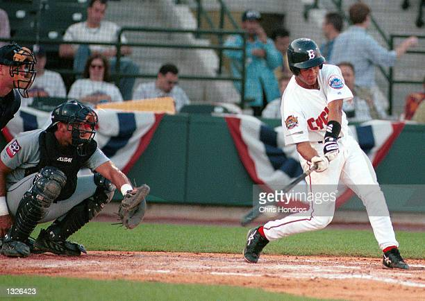 Leandro Arias hits the first run for the Brooklyn Cyclones during their season opener against the Mahoning Valley Snappers June 25, 2001 in Brooklyn,...