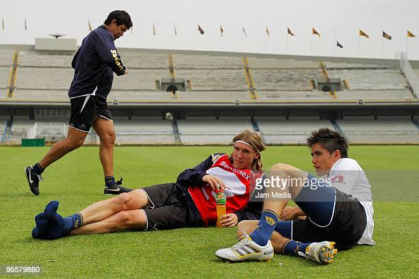 Leandro Augusto and Efrain Velarde of Pumas UNAM during a training session on January 4 2010 in Mexico City Mexico