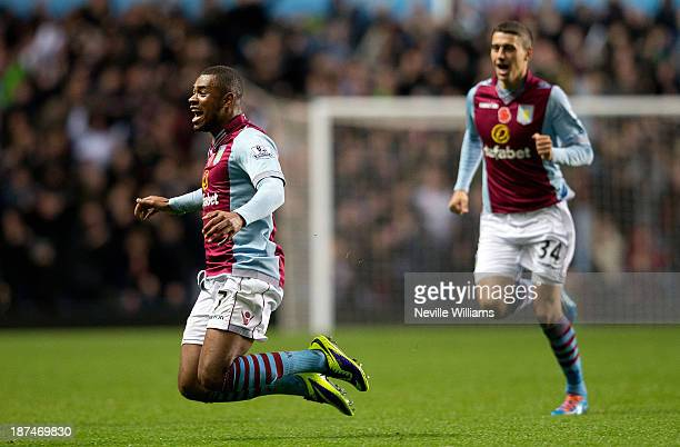 Leandro Bacouna of Aston Villa celebrates for Aston Villa during the Barclays Premier League match between Aston Villa and Cardiff City at Villa Park...