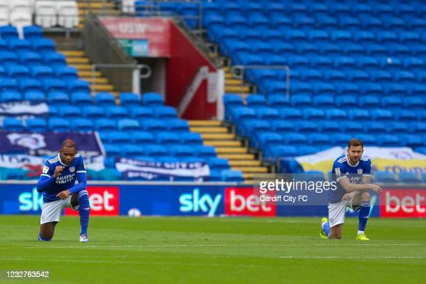 Leandro Bacuna and Joe Ralls of Cardiff City FC during the Sky Bet Championship match between Cardiff City and Rotherham United at Cardiff City...
