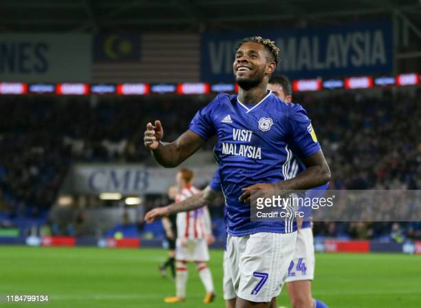 Leandro Bacuna celebrates scoring the first goal for Cardiff City FC during the Sky Bet Championship match between Cardiff City and Stoke City at...