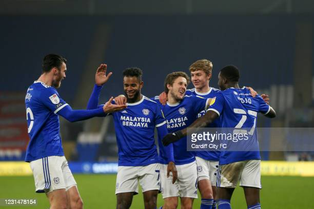 Leandro Bacuna celebrates scoring the third goal for Cardiff City FC during the Sky Bet Championship match between Cardiff City and Derby County at...