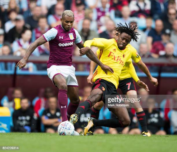 Leandro Bacuna of Aston Villa and Nathaniel Chalobah of Watford during the pre season friendly match between Aston Villa and Watford at Villa Park on...