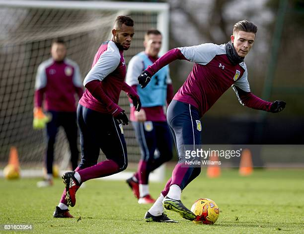 Leandro Bacuna of Aston Villa during a training session with team mate Jack Grealish at the club's training ground at Bodymoor Heath on January 13...