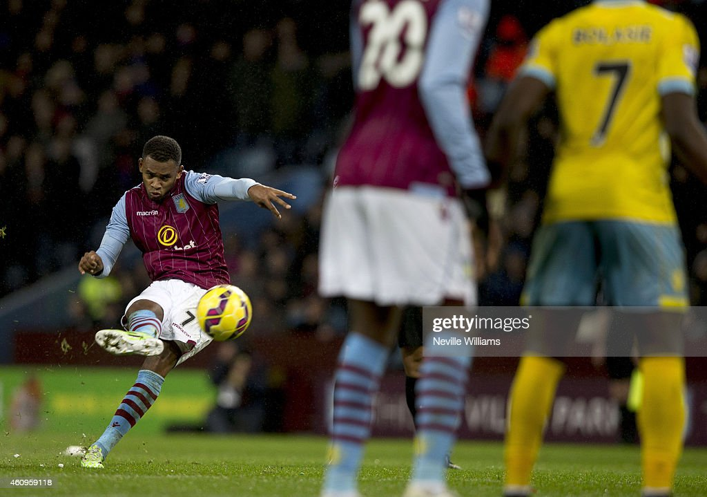 Leandro Bacuna of Aston Villa during the Barclays Premier League match between Aston Villa and Crystal Palace at Villa Park on January 01, 2015 in Birmingham, England.