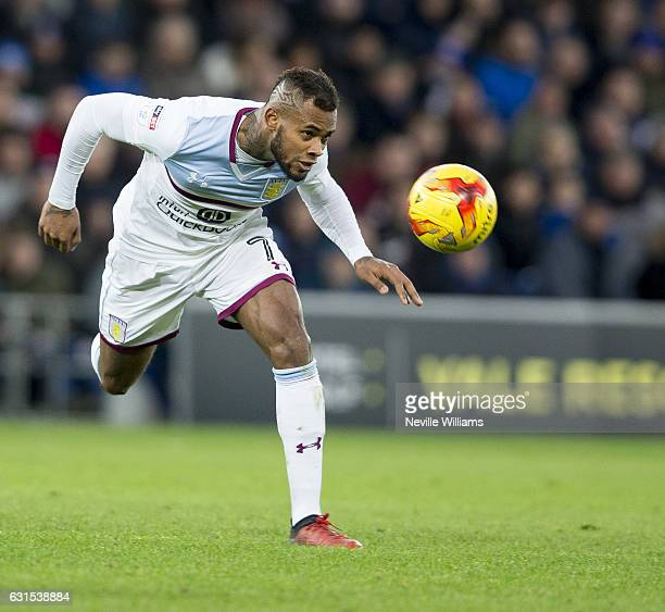 Leandro Bacuna of Aston Villa during the Sky Bet Championship match between Cardiff City and Aston Villa at the Cardiff City Stadium on January 02,...