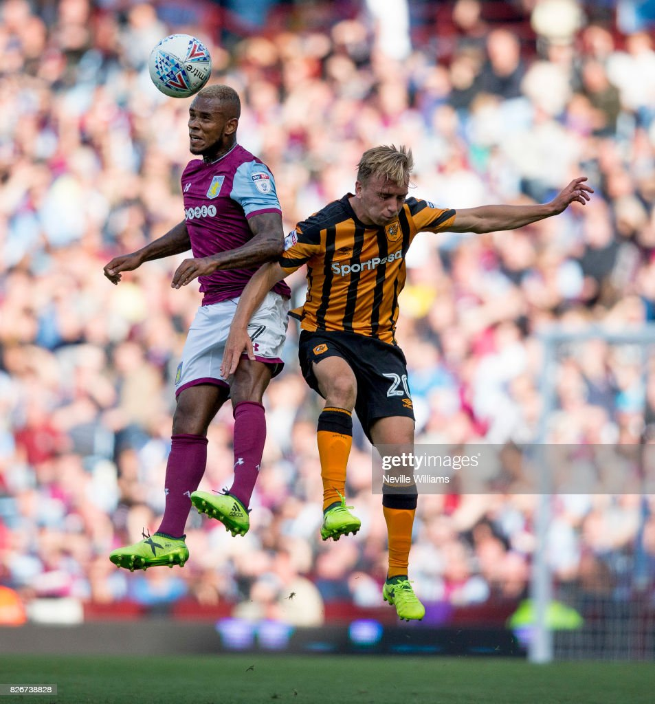 Leandro Bacuna of Aston Villa during the Sky Bet Championship match between Aston Villa and Hull City at Villa Park on August 05, 2017 in Birmingham, England.