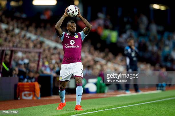 Leandro Bacuna of Aston Villa in action as a minutes applause is held for former player Dalian Atkinson during the Sky Bet Championship match between...
