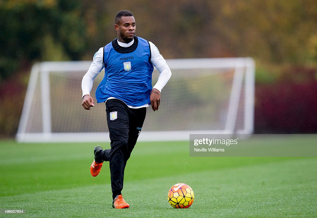 Leandro Bacuna of Aston Villa in action during a Aston Villa training session at the club's training ground at Bodymoor Heath on November 06, 2015 in Birmingham, England.