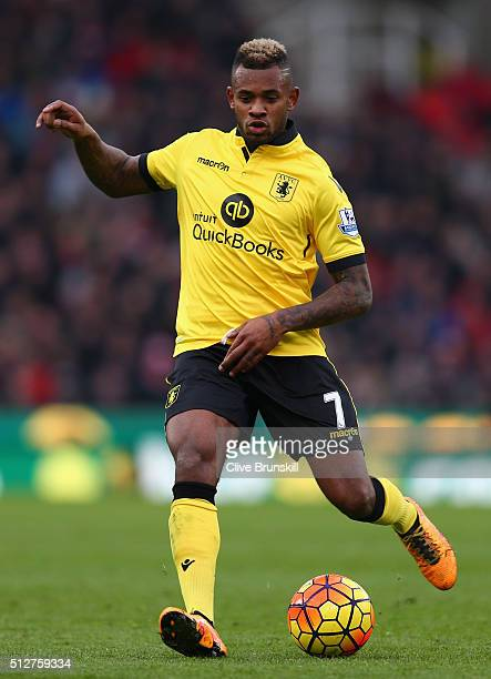 Leandro Bacuna of Aston Villa in action during the Barclays Premier League match between Stoke City and Aston Villa at Britannia Stadium on February...