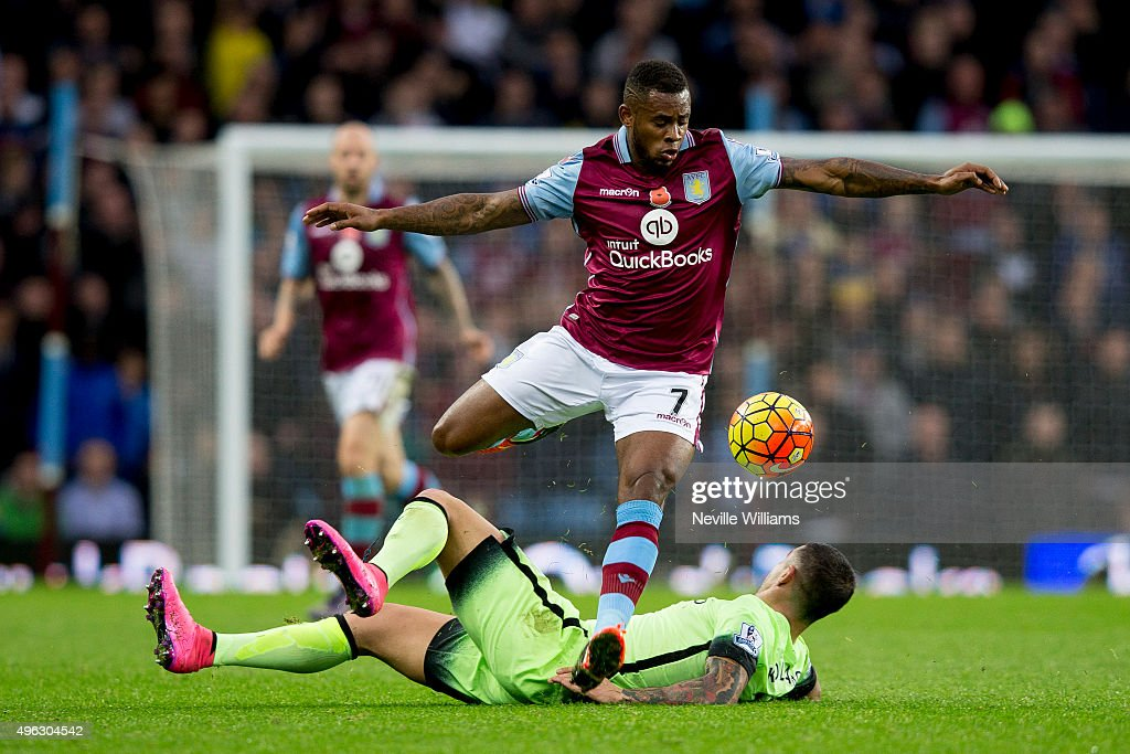 Leandro Bacuna of Aston Villa is challenged by Nicolas Otamendi of Manchester City during the Barclays Premier League match between Aston Villa and Manchester City at Villa Park on November 08, 2015 in Birmingham, England.