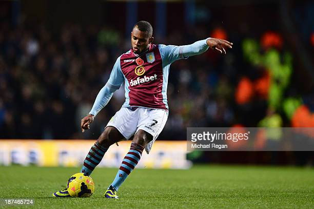 Leandro Bacuna of Aston Villa scores his team's opening goal during the Barclays Premier League match between Aston Villa and Cardiff City at Villa...