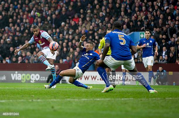 Leandro Bacuna of Aston Villa scores the opening goal during the FA Cup Fifth Round match between Aston Villa and Leicester City at Villa Park on...