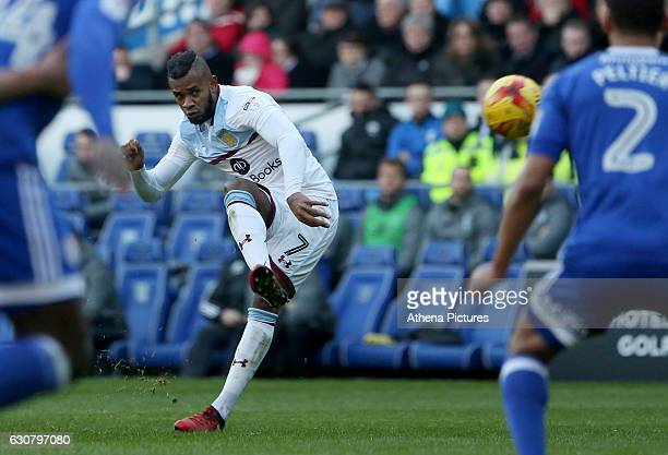Leandro Bacuna of Aston Villa takes a free kick during the Sky Bet Championship match between Cardiff City and Aston Villa at The Cardiff City...