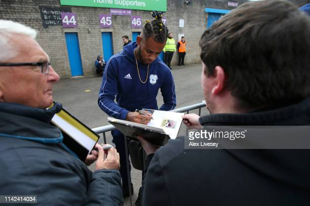 Leandro Bacuna of Cardiff City arrives at the stadium prior to the Premier League match between Burnley FC and Cardiff City at Turf Moor on April 13...