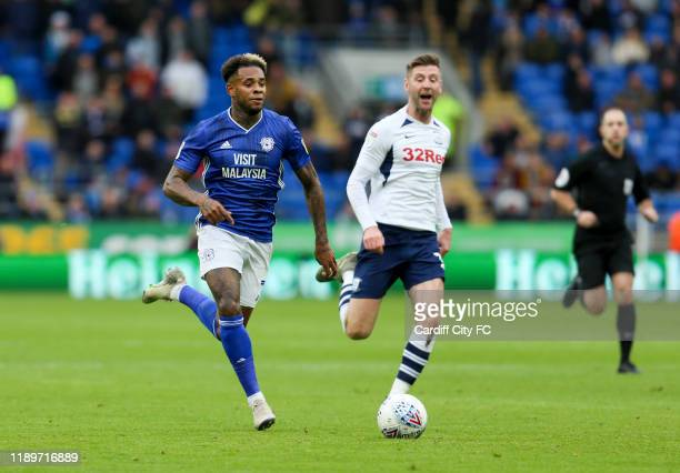 Leandro Bacuna of Cardiff City FC and Billy Bodin of Preston North End during the Sky Bet Championship match between Cardiff City and Preston North...