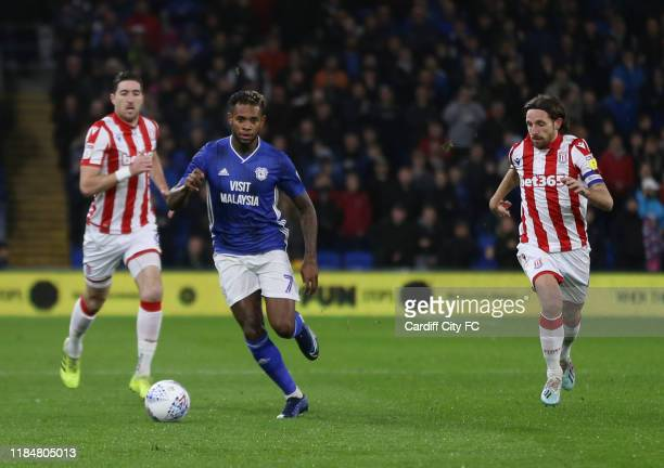Leandro Bacuna of Cardiff City FC and Joe Allen of Stoke City during the Sky Bet Championship match between Cardiff City and Stoke City at Cardiff...