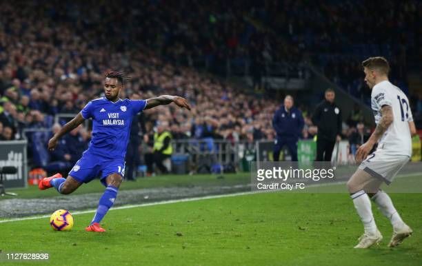 Leandro Bacuna of Cardiff City FC and Lucas Digne of Everton during the Premier League match between Cardiff City and Everton FC at Cardiff City...