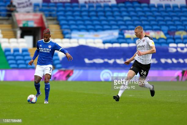 Leandro Bacuna of Cardiff City FC and Michael Smith of Rotherham United during the Sky Bet Championship match between Cardiff City and Rotherham...