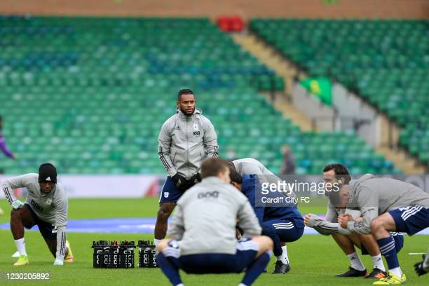 Leandro Bacuna of Cardiff City FC before the Sky Bet Championship match between Norwich City and Cardiff City at Carrow Road on December 19, 2020 in...