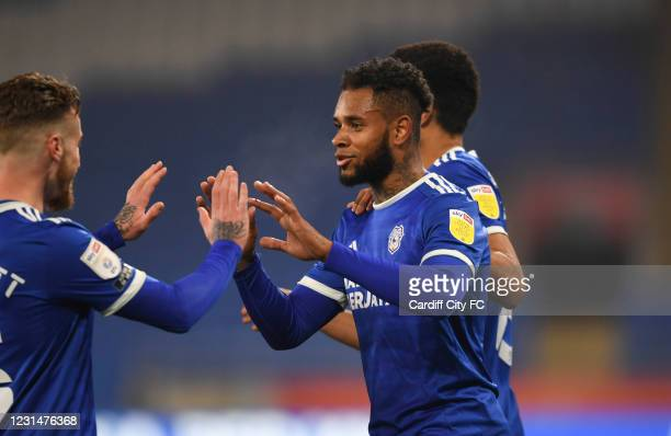 Leandro Bacuna of Cardiff City FC celebrates scoring the opening goal during the Sky Bet Championship match between Cardiff City and Derby County at...