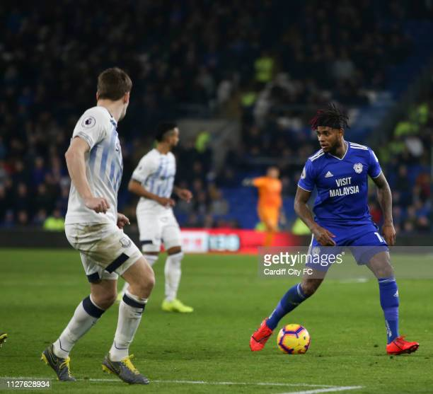 Leandro Bacuna of Cardiff City FC during the Premier League match between Cardiff City and Everton FC at Cardiff City Stadium on February 26 2019 in...