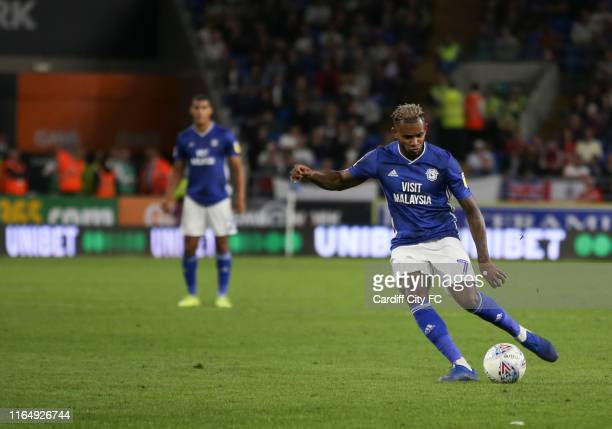 Leandro Bacuna of Cardiff City FC during the Sky Bet Championship match between Cardiff City and Fulham at Cardiff City Stadium on August 31, 2019 in...