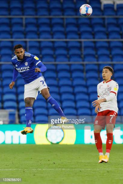 Leandro Bacuna of Cardiff City heads the ball away during the Sky Bet Championship match between Cardiff City and Middlesbrough at the Cardiff City...