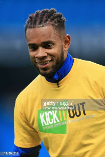 Leandro Bacuna of Cardiff wears an antiracism 'Kick It Out' tshirt during the warmup ahead of the Premier League match between Manchester City and...