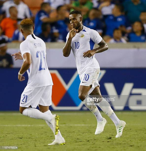 Leandro Bacuna of Curacao scores against Honduras in the first half during the CONCACAF Gold Cup Group C game between Honduras and Curacao at BBVA...