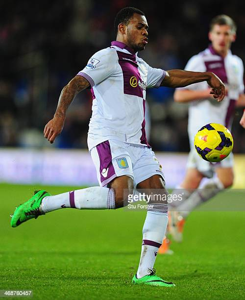 Leandro Bacuna of Villa in action during the Barclays Premier League match between Cardiff City and Aston Villa at Cardiff City Stadium on February...