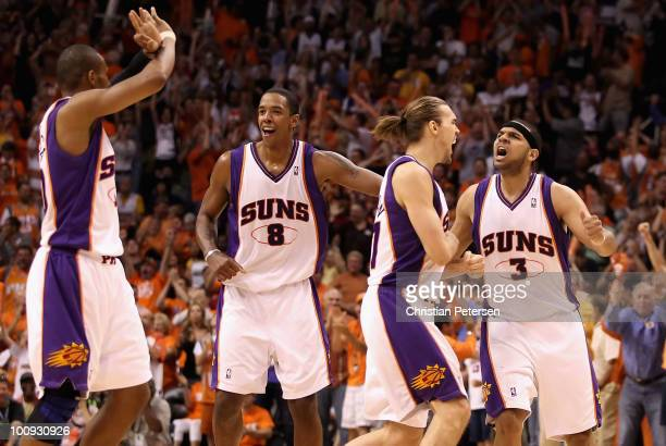 Leandro Barbosa Channing Frye Louis Amundson and Jared Dudley of the Phoenix Suns celebrate after Dudley hit a 3 point shot against the Los Angeles...