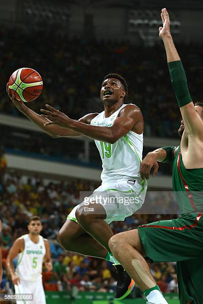 Leandro Barbosa of Brazil puts up a shot during a Men's preliminary round basketball game between Brazil and Lithuania on Day 2 of the Rio 2016...