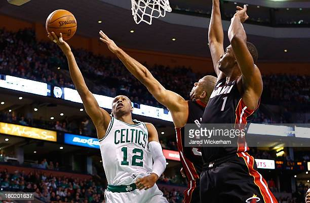 Leandro Barbosa of the Boston Celtics goes up for a layup against the Miami Heat during the game on January 27, 2013 at TD Garden in Boston,...