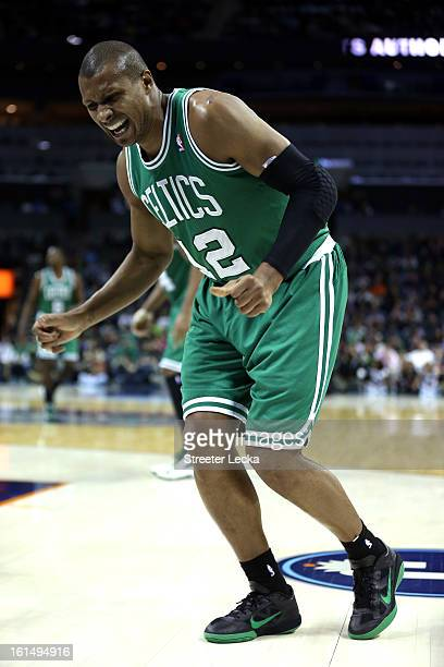 Leandro Barbosa of the Boston Celtics is injured during their game against the Charlotte Bobcats at Time Warner Cable Arena on February 11 2013 in...
