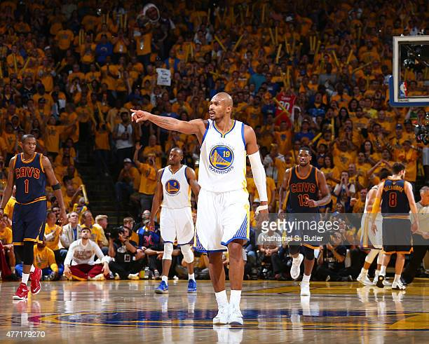 Leandro Barbosa of the Golden State Warriors calls out to his teammates during Game Five of the 2015 NBA Finals on June 14 2015 at Oracle Arena in...
