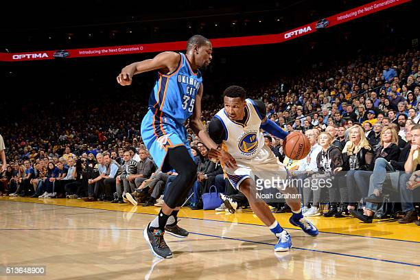 Leandro Barbosa of the Golden State Warriors drives to the basket during the game against Kevin Durant of the Oklahoma City Thunder on March 3 2016...