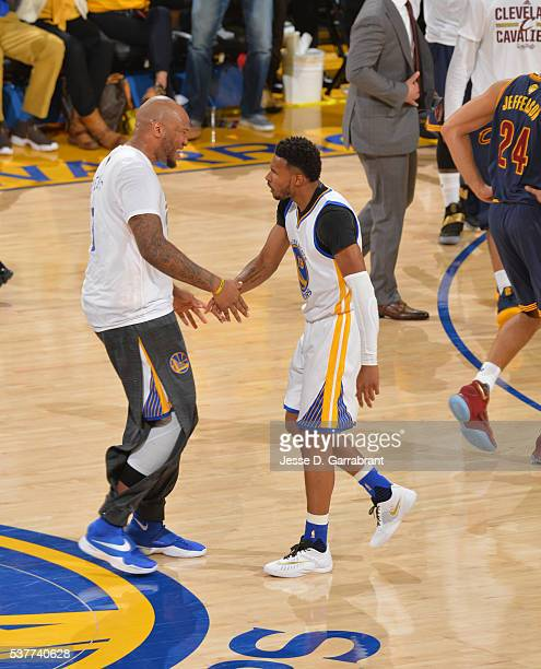Leandro Barbosa of the Golden State Warriors gets fired up against the Cleveland Cavaliers during the 2016 NBA Finals Game One on June 2 2016 at...