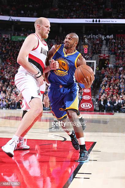 Leandro Barbosa of the Golden State Warriors goes for the basket against the Portland Trail Blazers on November 2 2014 at the Moda Center Arena in...