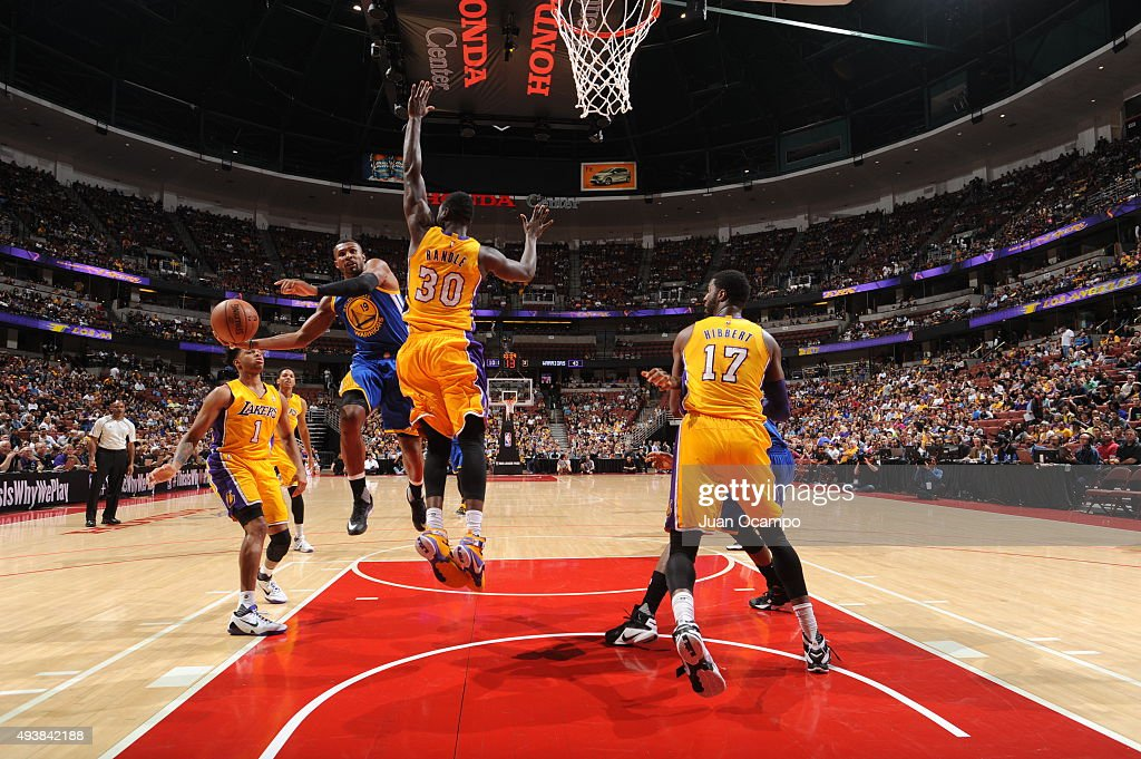 Leandro Barbosa #19 of the Golden State Warriors goes to the basket against the Los Angeles Lakers during a preseason game on October 22, 2015 at Honda Center in Anaheim, California.