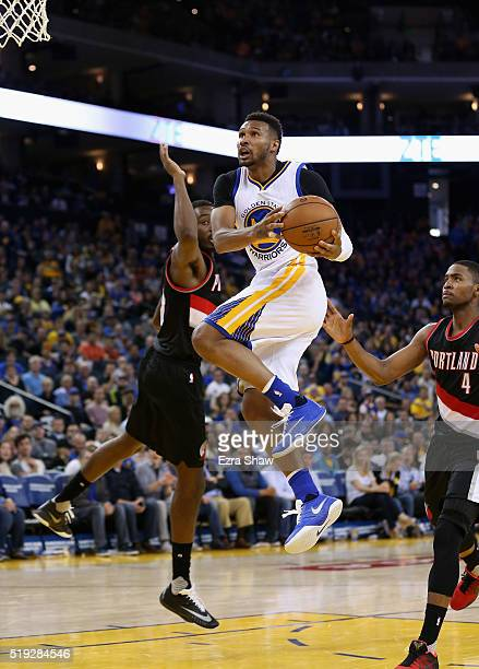Leandro Barbosa of the Golden State Warriors goes up for a shot against the Portland Trail Blazers at ORACLE Arena on April 3 2016 in Oakland...