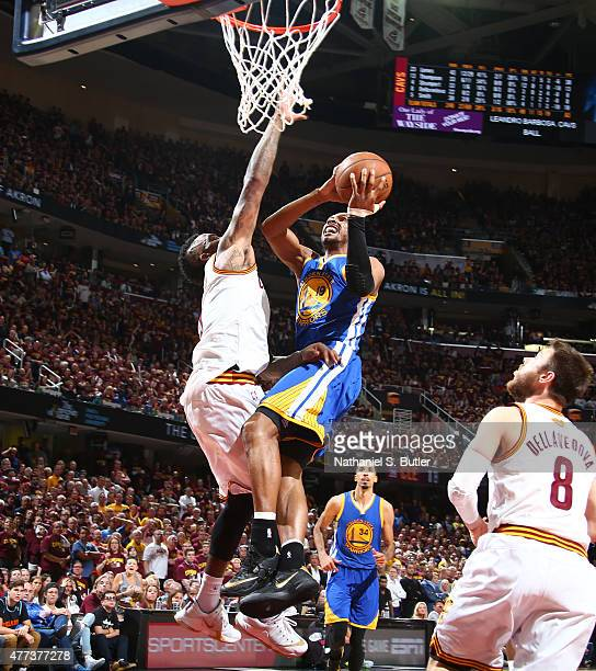 Leandro Barbosa of the Golden State Warriors goes up to shoot against JR Smith of the Cleveland Cavaliers during Game Six of the 2015 NBA Finals at...