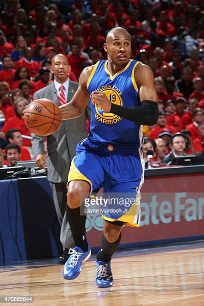 Leandro Barbosa of the Golden State Warriors handles the ball against the New Orleans Pelicans during Game Three of the Western Conference...